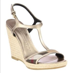 Burberry Bridle House Check Leeham Wedge Sandals